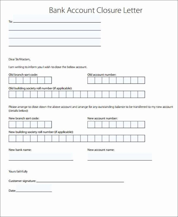 Sample Letter to Close Bank Account Fresh Bank Closing Account Letter Example