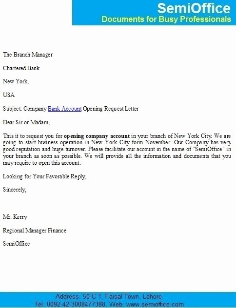 Sample Letter to Close Bank Account Inspirational Pany Bank Account Opening Request Letter
