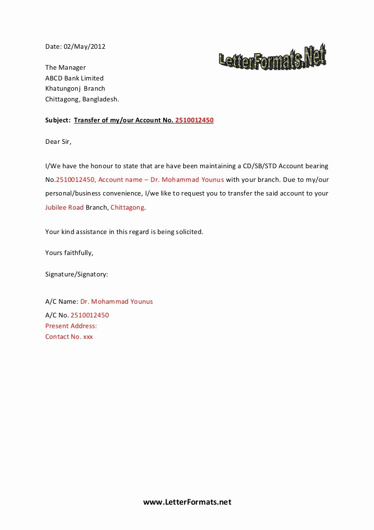 Sample Letter to Close Bank Account Luxury Bank Account Transfer Letter