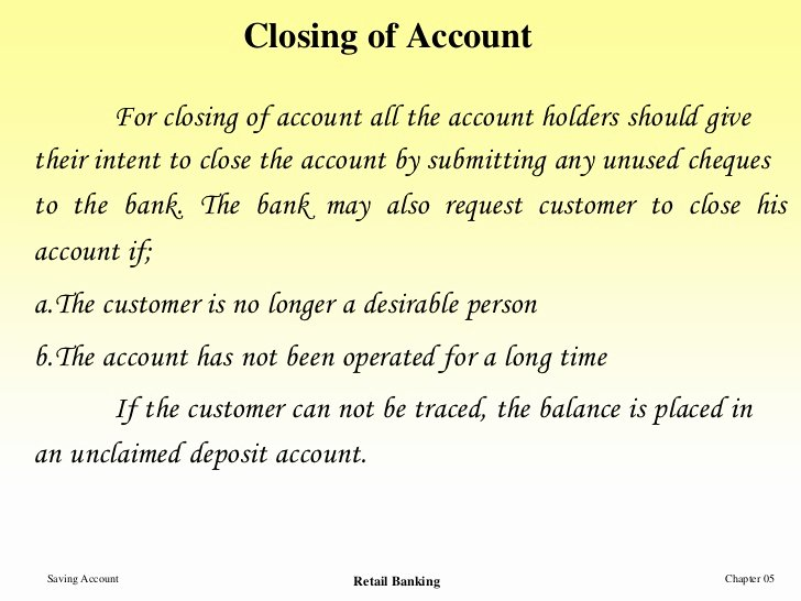 Sample Letter to Close Bank Account New Saving Account