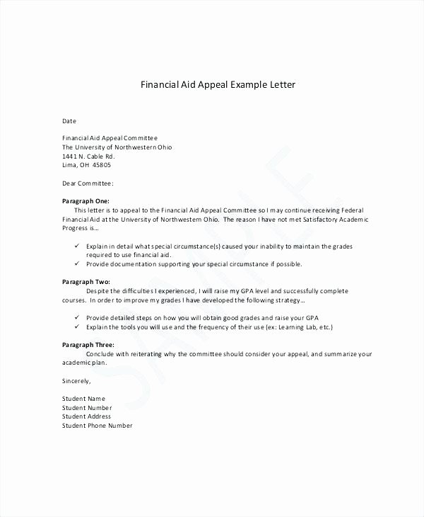 sample sap appeal letter for financial aid