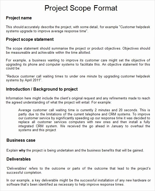 Sample Scopes Of Work Fresh 8 Sample Project Scope Templates Pdf Word
