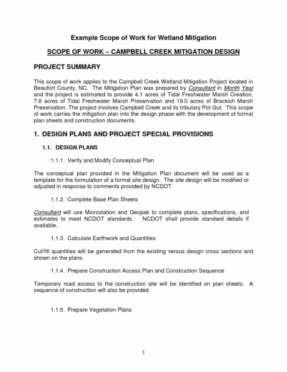 Sample Scopes Of Work New 7 Construction Scope Of Work Templates Word Excel Pdf