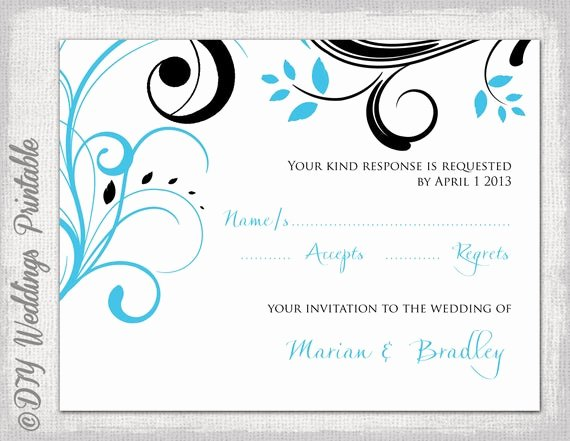 Scroll Template Word Elegant Rsvp Template Turquoise and Black Scroll Response