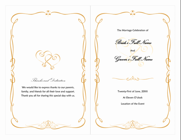 Scroll Template Word Fresh Wedding Program Heart Scroll Design
