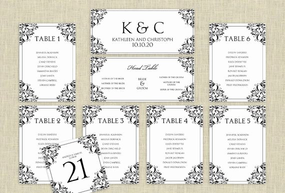 Seating Chart Template Word Unique Wedding Seating Chart Template Download Instantly