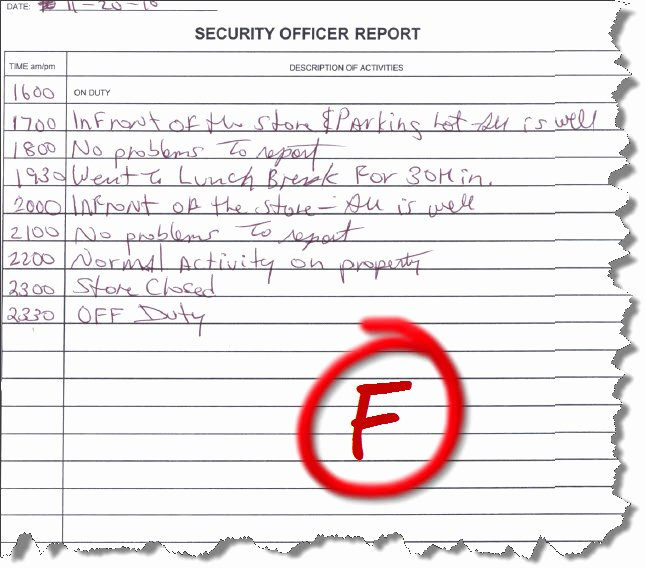 Security Officer Daily Activity Report Sample Lovely Raymond andersson Postings the Security Ficer Shift