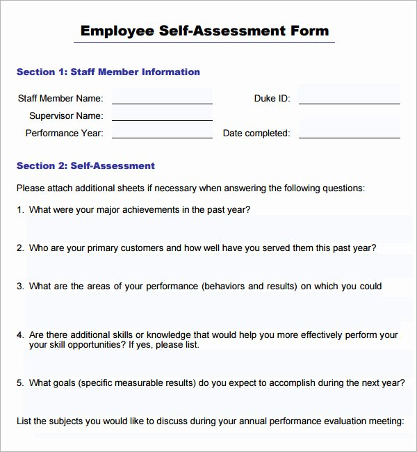 Self Performance Review Template Luxury 16 Sample Employee Self Evaluation form Pdf Word Pages