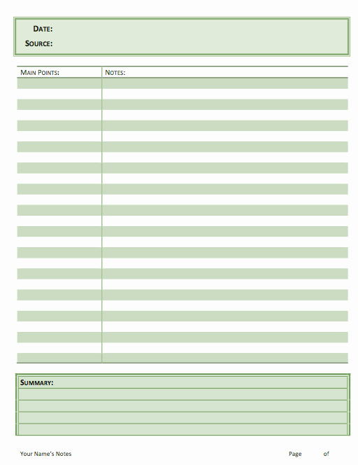 sermon notes template