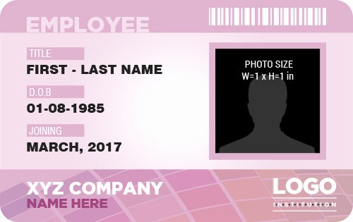 Service Dog Id Card Template Free Download Unique Professional Employee Id Badges for Ms Word