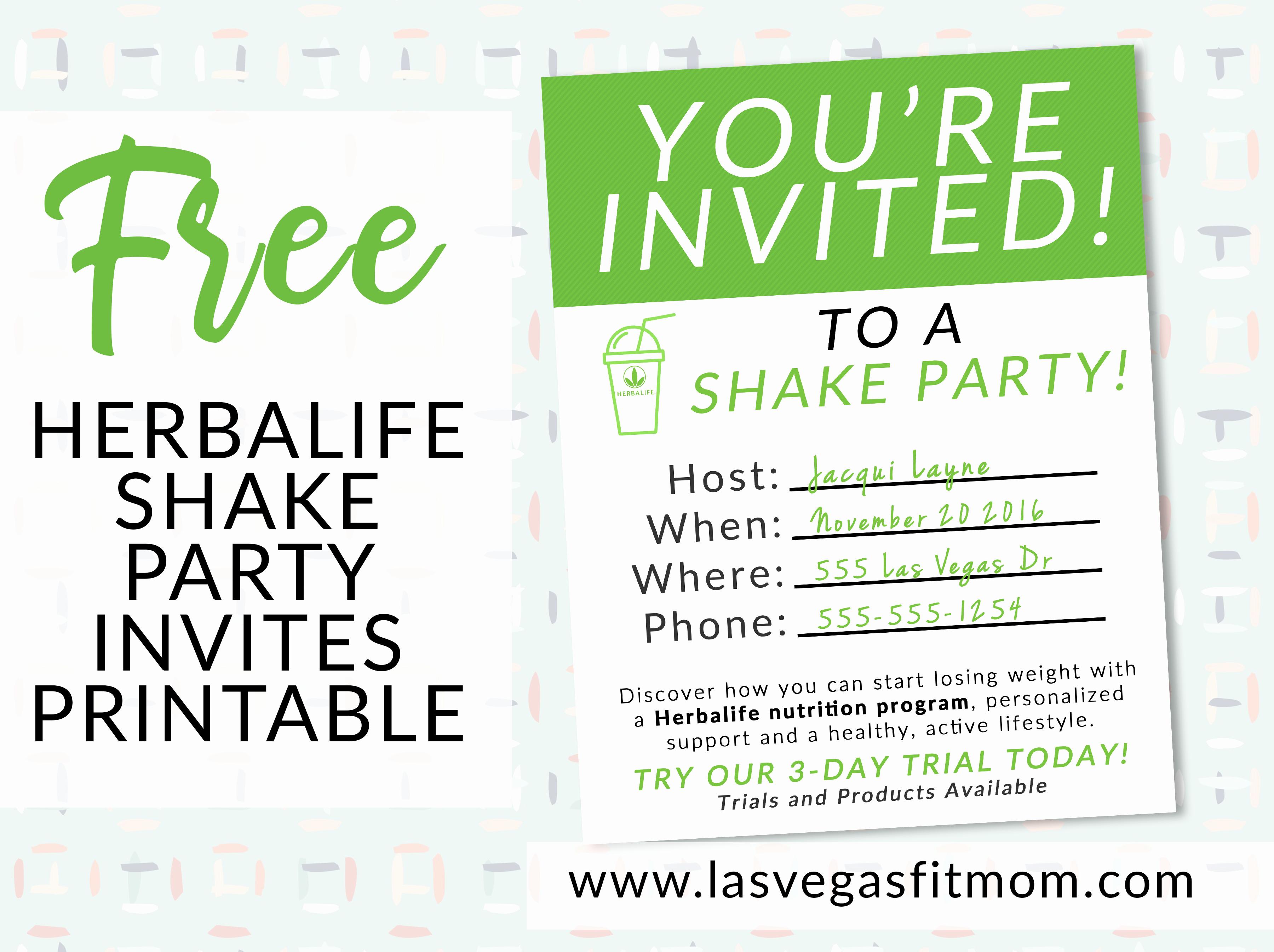 Shake Party Herbalife Beautiful Herbalife Shake Party Invites – Free Printable – Las Vegas