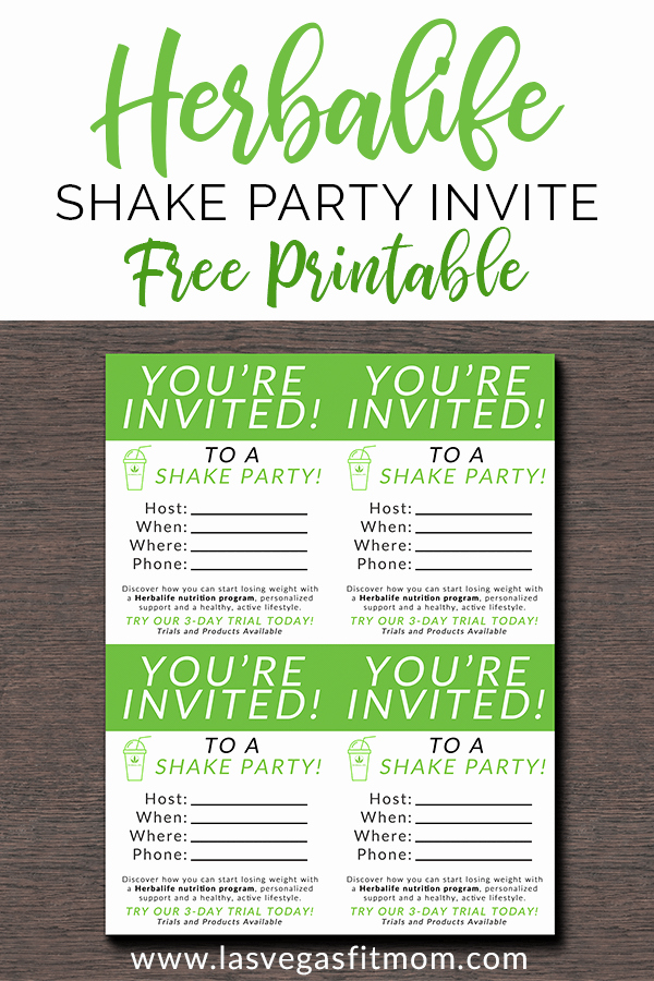 Shake Party Herbalife Inspirational Herbalife Shake Party Invites – Free Printable – Las Vegas