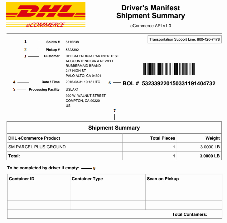 Shipping Manifest Template Excel Best Of Dhl Bill Lading Pdf