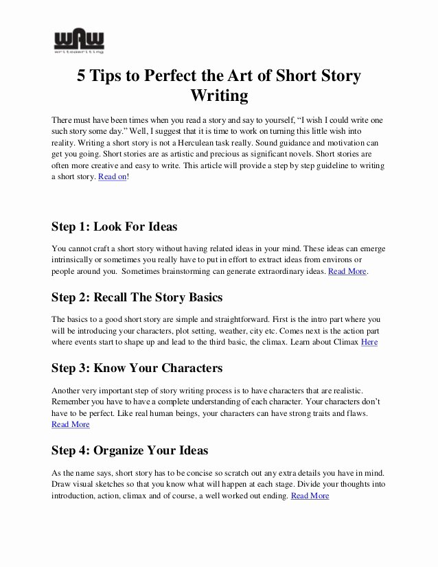 Short Story Essay Ideas Unique Five Tips to Perfect the Art Of Short Story Writing