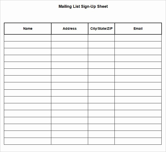 Sign Up Sheet Template Name Email Phone Number Inspirational Sign Up Sheets 58 Free Word Excel Pdf Documents