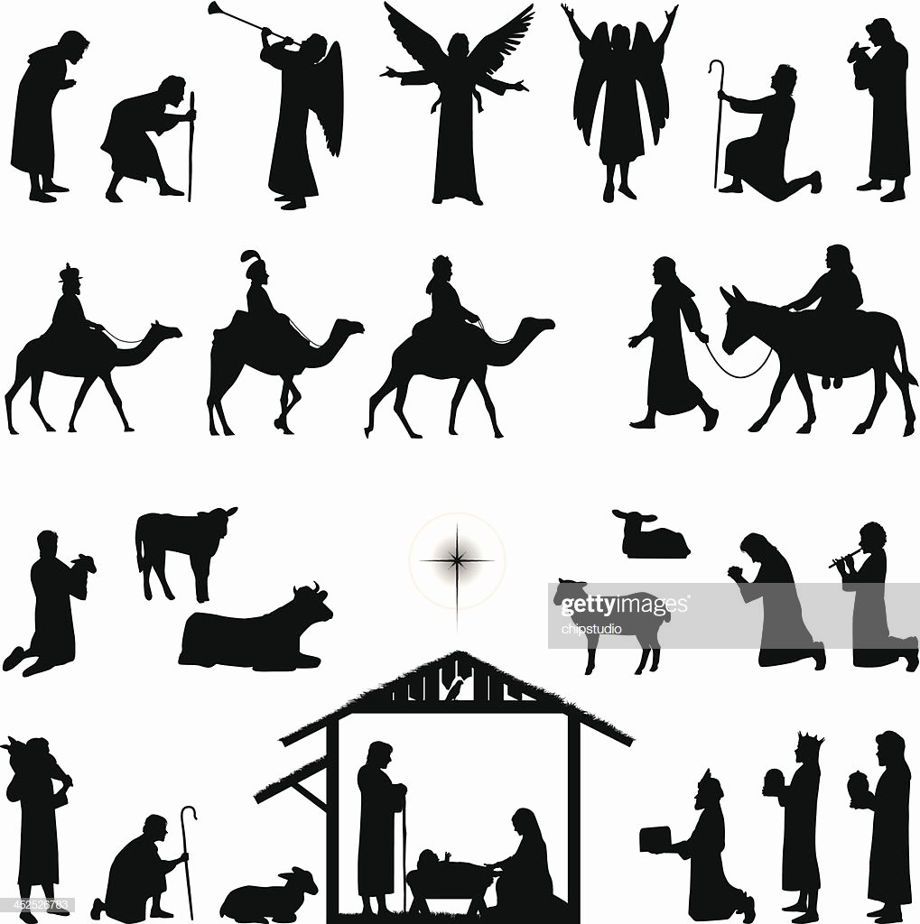 Silhouette Nativity Scene Pattern Awesome Nativity Vector Art
