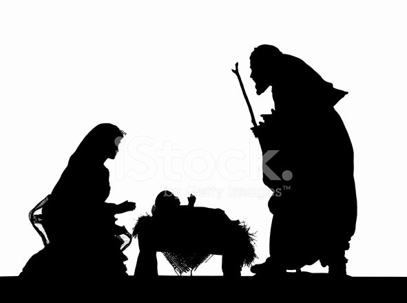 Silhouette Nativity Scene Pattern New Nativity Photographed Silhouette Stock Photos