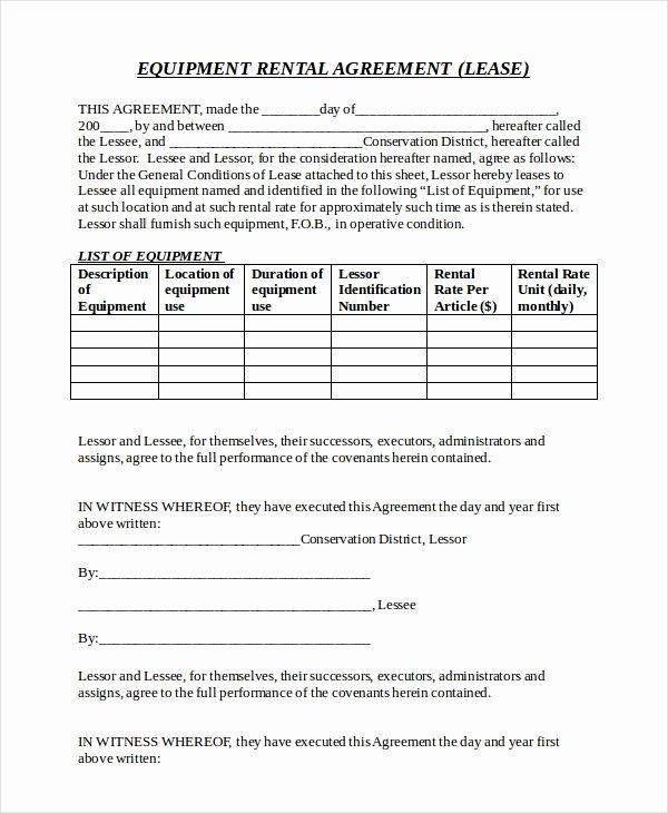 sample equipment rental agreement