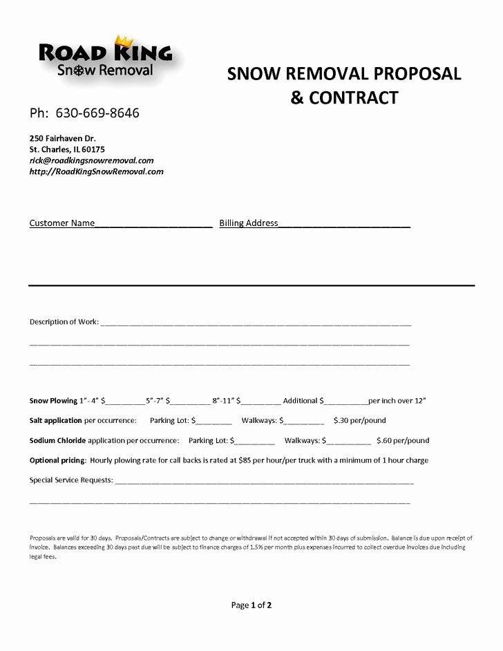 Snow Removal Bid Template Lovely 20 Snow Plowing Contract Templates Free Download