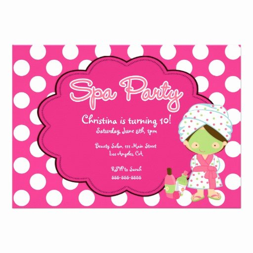 """Spa Day Invitation Awesome Cute Spa Day Birthday Party Invitation 5"""" X 7"""" Invitation"""