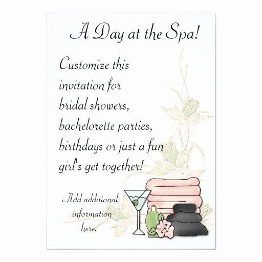 Spa Day Invitation Awesome Spa Day 5x7 Paper Invitation Card