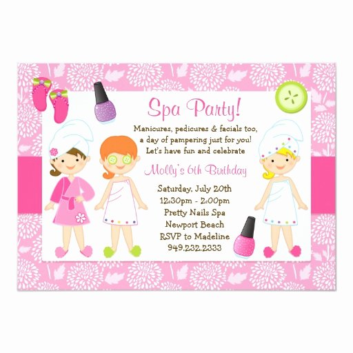 Spa Day Invitation Beautiful Kids Spa Birthday Party Invitation