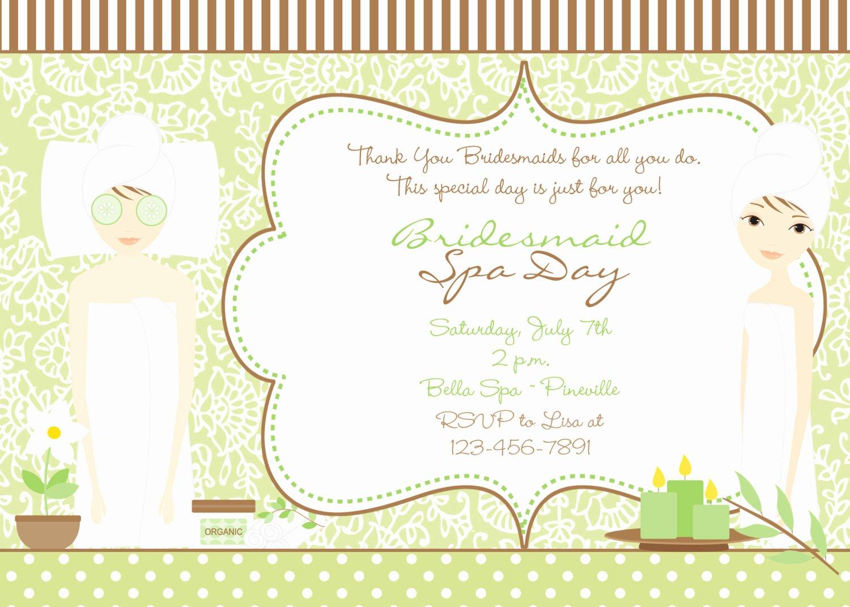 Spa Day Invitation Beautiful Spa Bridal Shower Invitation Green and Brown Bridal Spa Day