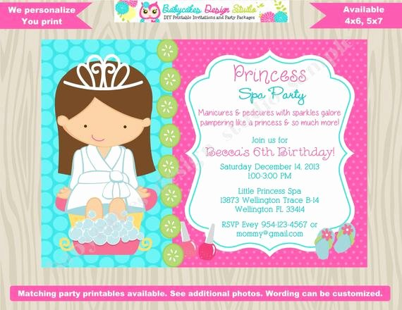 Spa Day Invitation Best Of Princess Spa Party Invitation Princess Spa Day Princess Spa