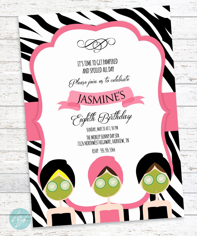 Spa Day Invitation Best Of Spa Birthday Invitation Spa Day Spa Party by Flairandpaper