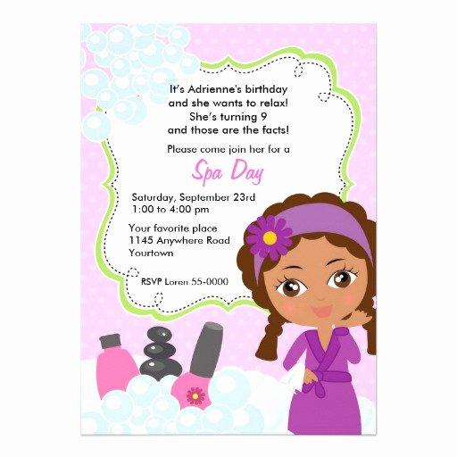 """Spa Day Invitation Elegant Ethnic Girls Spa Day Birthday Invitation 5"""" X 7"""