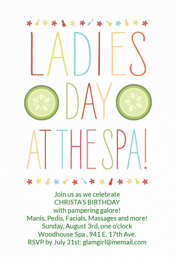 Spa Day Invitation Elegant La S Day at the Spa Birthday Invitation Template Free
