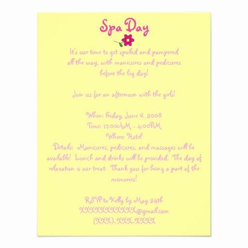 Spa Day Invitation Elegant Spa Day Invitation