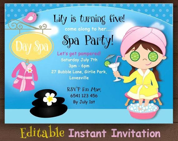 Spa Day Invitation Fresh Items Similar to Editable Spa Party Invitation Day Spa