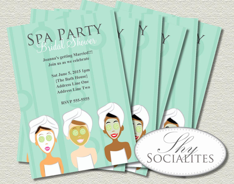 Spa Day Invitation Luxury Spa Party Invitation Pedicure Pamper Manicure Spa Day