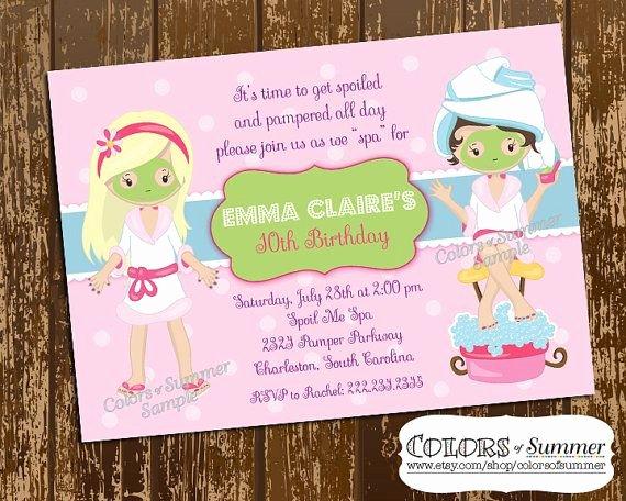 Spa Day Invitation New Spa Birthday Invitation Spa Day Pamper Invite Girls