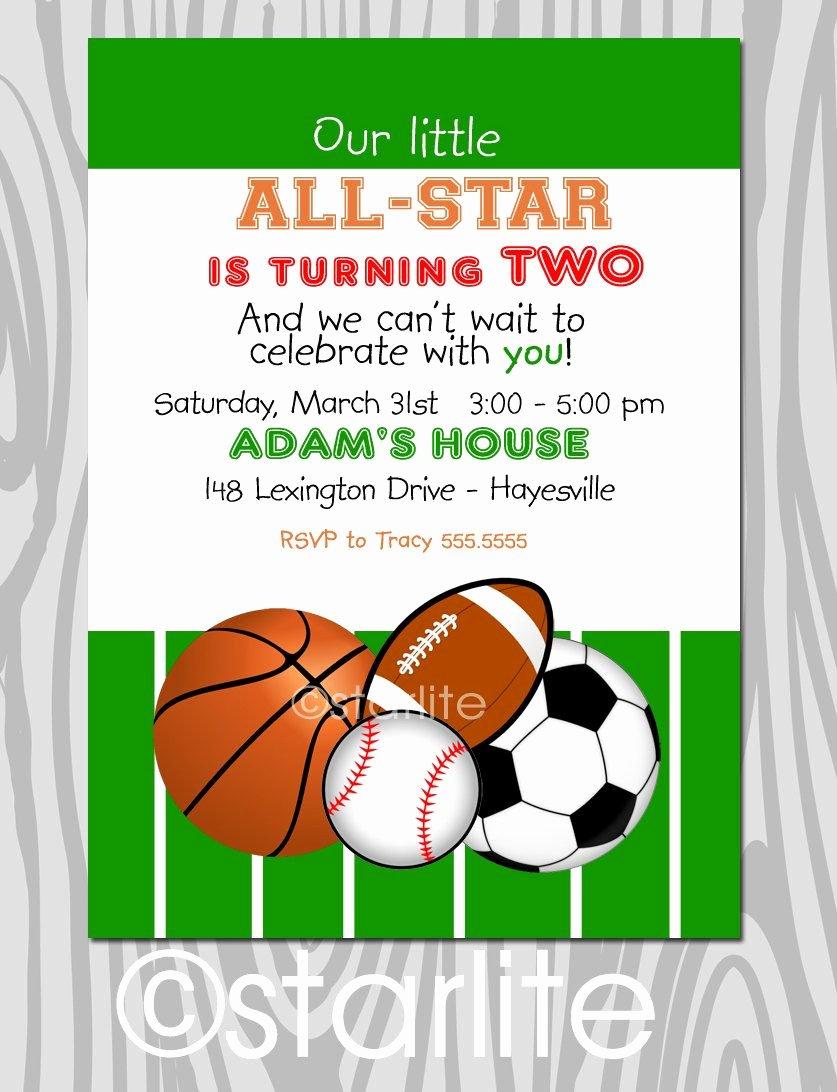 Sports Invitation Template Beautiful All Star Birthday Party Invitation Sports theme
