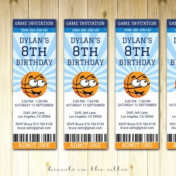 Sports Invitation Template Elegant Basketball Birthday Invitation Ticket Sports Party Invite