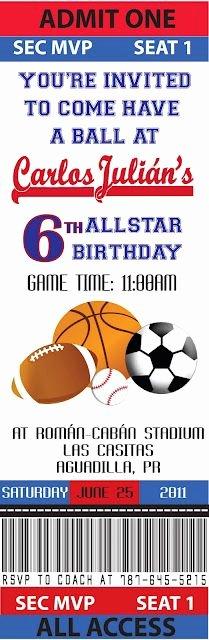 Sports Invitation Template Elegant Printable Basketball Ticket Birthday Invitation