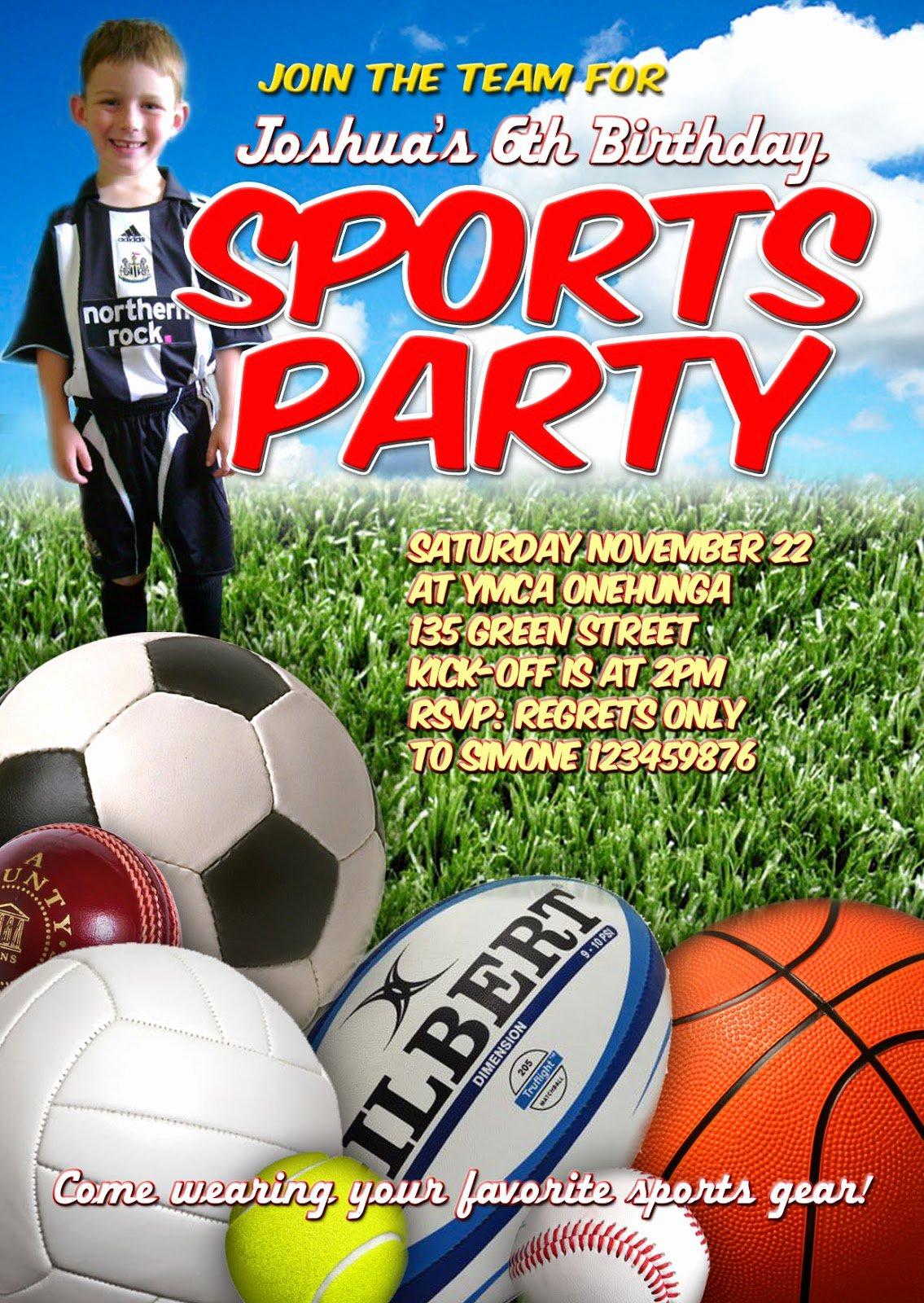 Sports Invitation Template Lovely Sports Birthday Party Invitation Templates