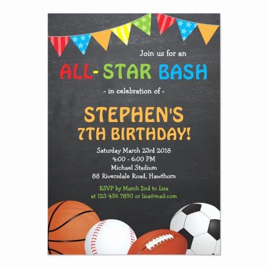 Sports Invitation Template Luxury Sports Birthday Invitation Sports Invitation
