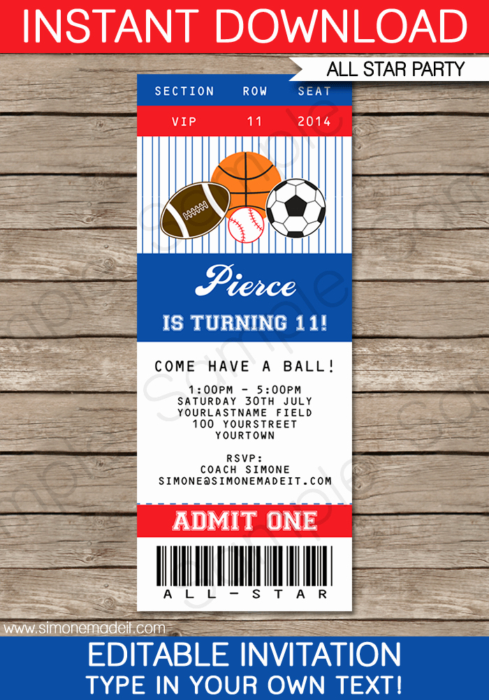 Sports Ticket Invitation Template Free Beautiful All Star Sports Ticket Invitations