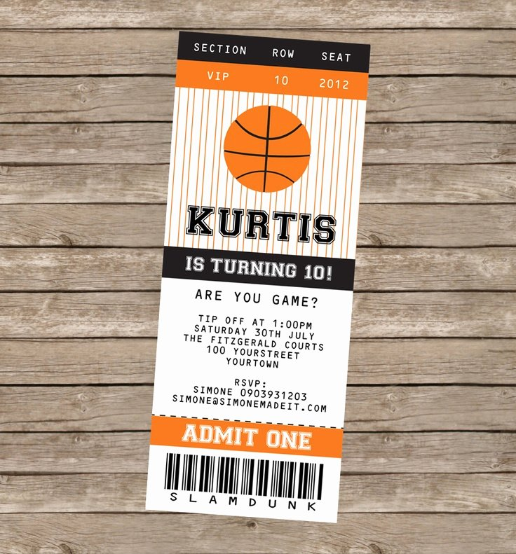 Sports Ticket Invitation Template Free Inspirational 8 Best Of Printable Basketball Ticket Invitation