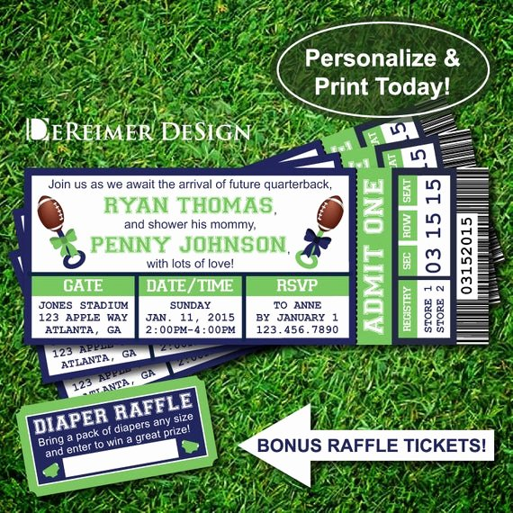 Sports Ticket Invitation Template Free Inspirational Sports Ticket Baby Boy Shower Invitation Little All Star