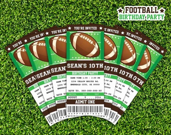 Sports Ticket Invitation Template Free New Football Ticket Invitation Printable Instant Download
