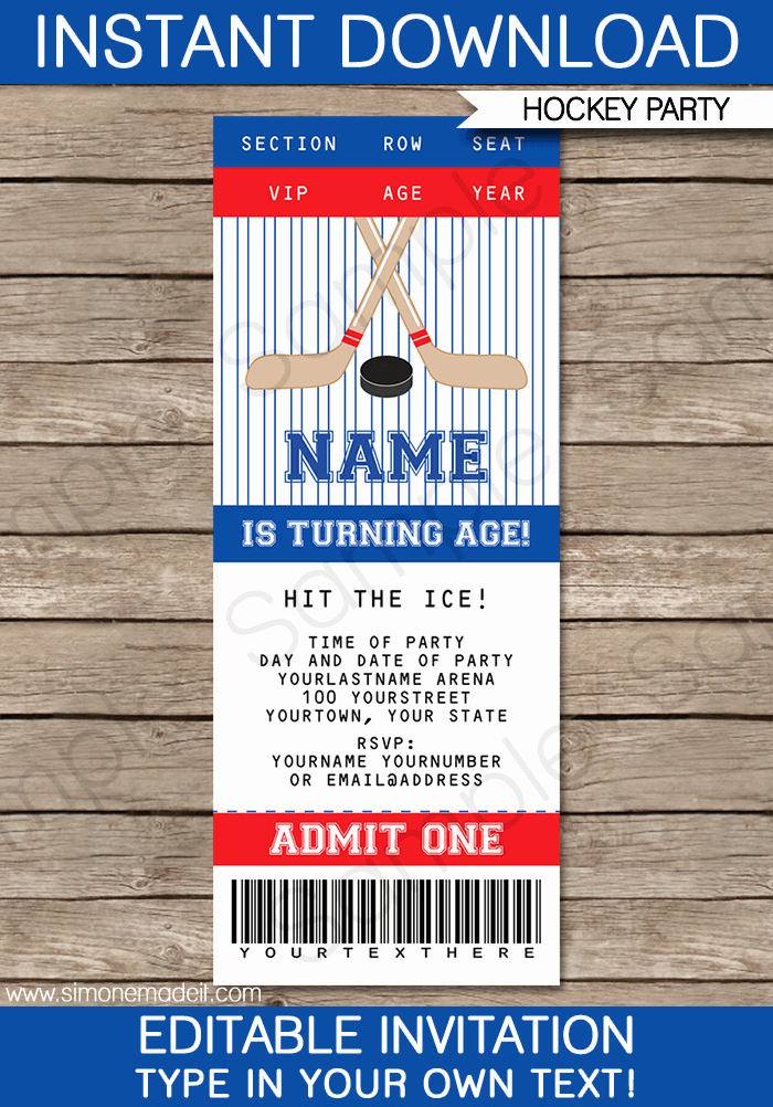 Sports Ticket Invitation Template Free New Hockey Ticket Invitations Birthday Party