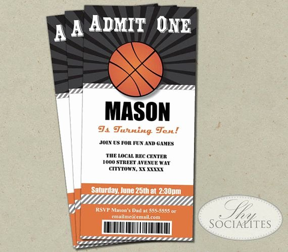 Sports Ticket Invitation Template Free Unique Basketball Ticket Invitation