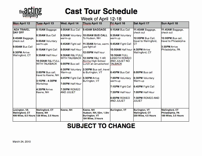 Stage Play format Template Unique Rehearsal Schedule Template