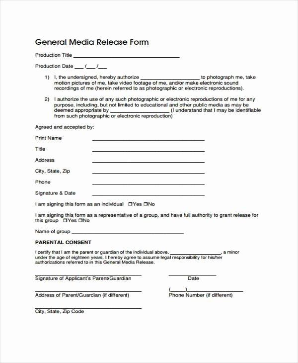 Standard Media Release form Template Beautiful Release form Templates