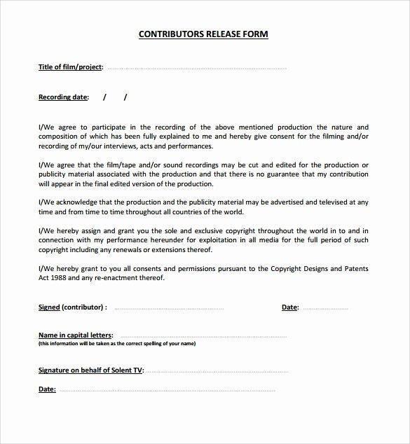 Standard Media Release form Template Elegant 10 Release form Templates to Download for Free
