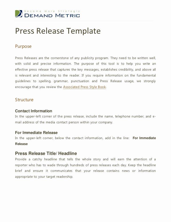 Standard Media Release form Template Elegant Press Release Template